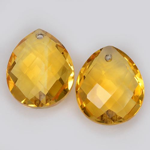 Deep Golden Orange Citrine Gem - 4ct Pear Checkerboard with Hole (ID: 511100)