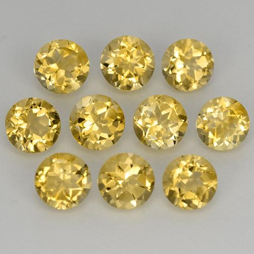 Medium Golden Citrina Gema - 0.2ct Faceta Redonda (ID: 511733)