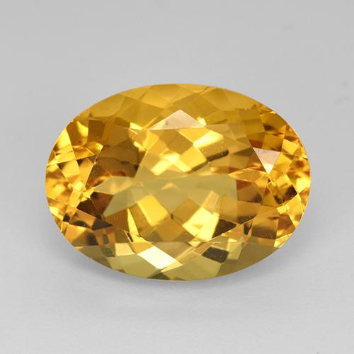 Yellow Golden Citrine Gem - 9.8ct Oval Facet (ID: 512353)