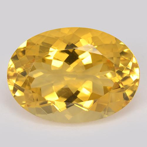 Yellow Golden Citrine Gem - 12.5ct Oval Facet (ID: 512889)