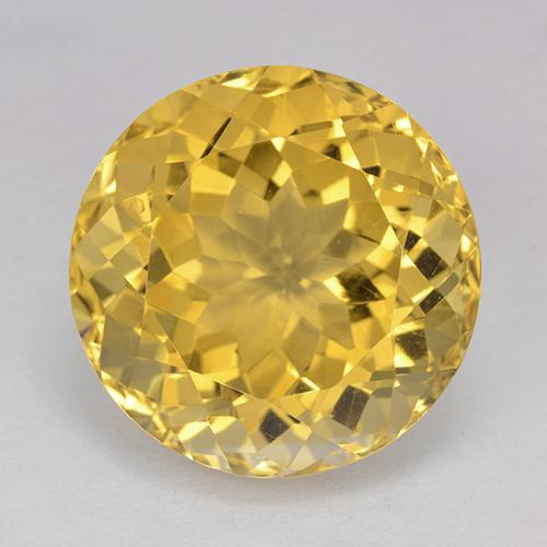 Yellow Golden Citrine Gem - 13.6ct Round Facet (ID: 514036)