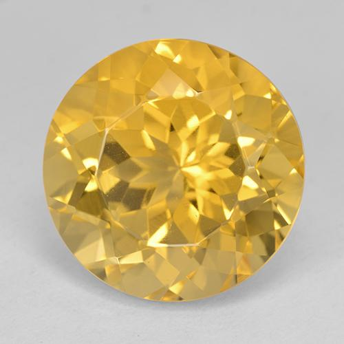 Yellow Golden Citrine Gem - 12.6ct Round Facet (ID: 514039)