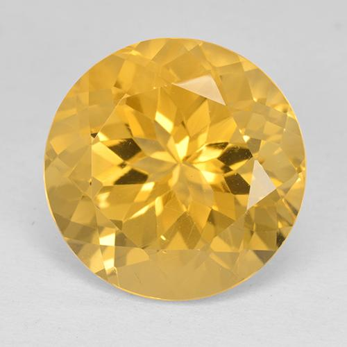 Yellow Golden Citrine Gem - 11.8ct Round Facet (ID: 514043)