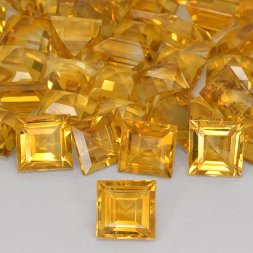1.57 ct Carré taillée en degrés Orange-Gold Citrine gemme 7.10 mm x 7 mm (Photo A)