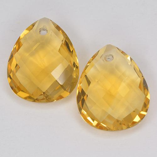 Yellow Golden Citrine Gem - 3.4ct Pear Checkerboard with Hole (ID: 514125)