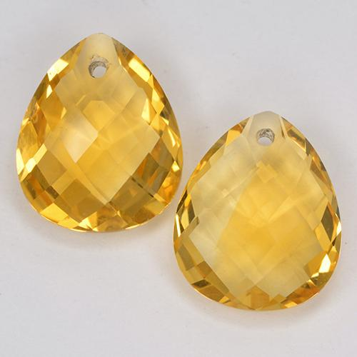 Yellow Golden Citrine Gem - 3.6ct Pear Checkerboard with Hole (ID: 514126)