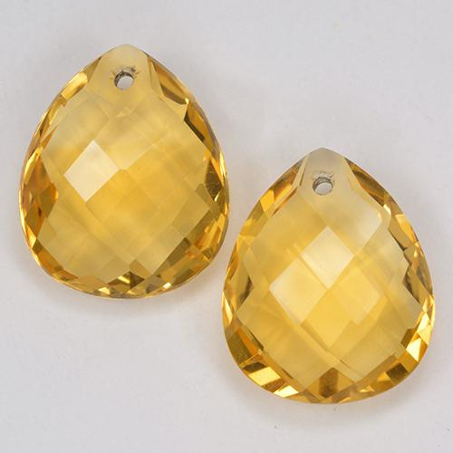 Yellow Golden Citrine Gem - 3.7ct Pear Checkerboard with Hole (ID: 514128)