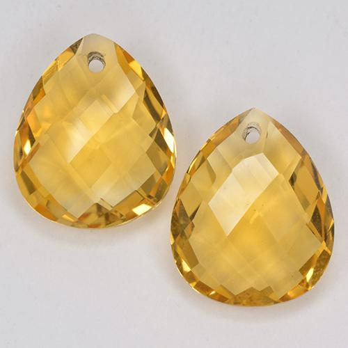 Medium Golden Citrine Gem - 3.5ct Pear Checkerboard with Hole (ID: 514129)