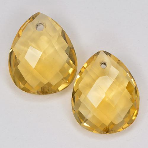 3.6ct Pear Checkerboard with Hole Yellow Golden Citrine Gem (ID: 514130)