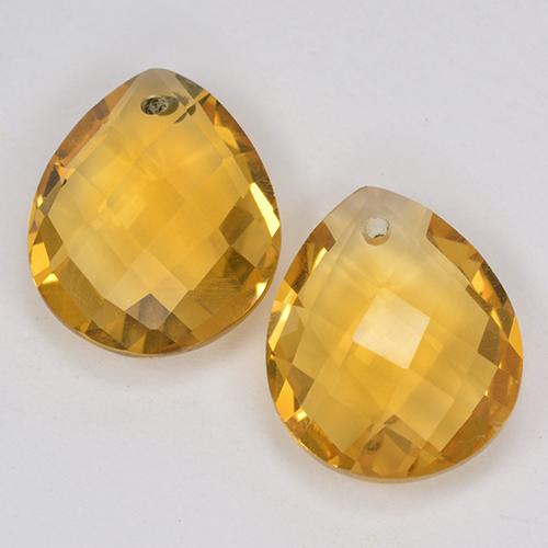 Yellow Golden Citrine Gem - 3.4ct Pear Checkerboard with Hole (ID: 514131)
