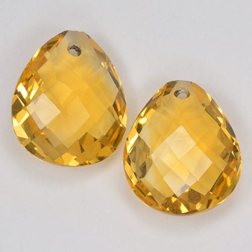 3.6ct Pear Checkerboard with Hole Yellow Golden Citrine Gem (ID: 514132)