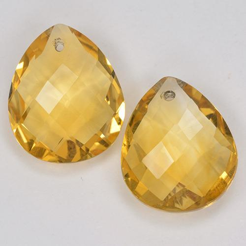 Yellow Golden Citrine Gem - 3.5ct Pear Checkerboard with Hole (ID: 514134)