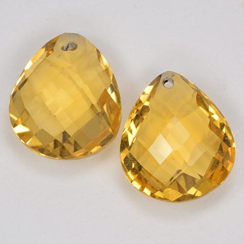 Yellow Golden Citrine Gem - 3.7ct Pear Checkerboard with Hole (ID: 514136)