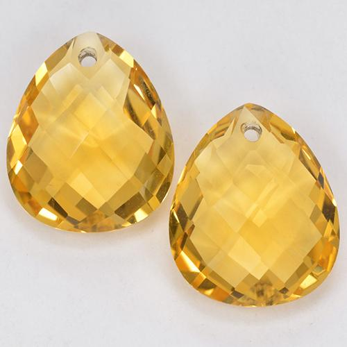 Yellow Golden Citrine Gem - 3.6ct Pear Checkerboard with Hole (ID: 514320)