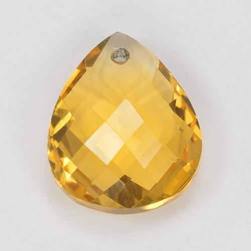 Yellow Golden Citrine Gem - 3.8ct Pear Checkerboard with Hole (ID: 514322)