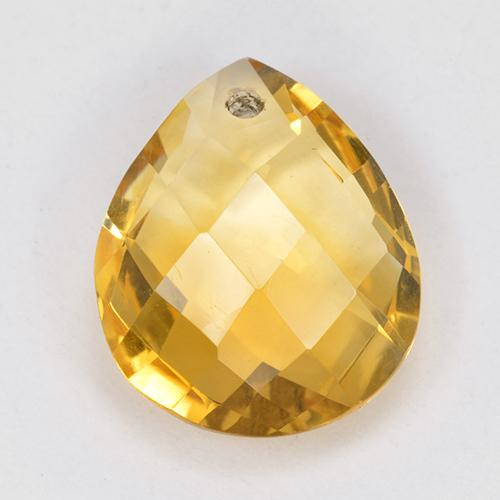 Yellow Golden Citrine Gem - 3.5ct Pear Checkerboard with Hole (ID: 514324)