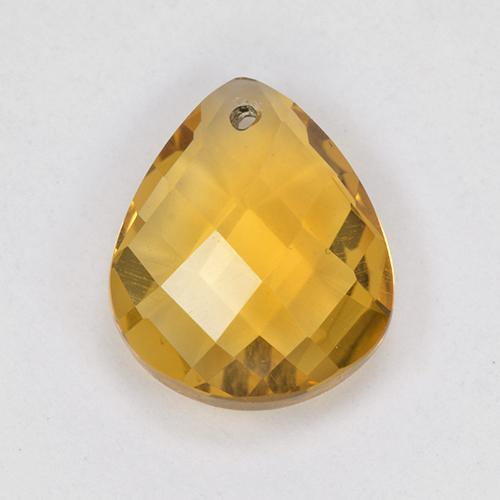 Yellow Golden Citrine Gem - 3.4ct Pear Checkerboard with Hole (ID: 514325)