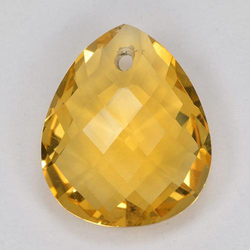 Deep Orange-Gold Citrina Gema - 3.7ct Pera checkerboard con orificio (ID: 514327)