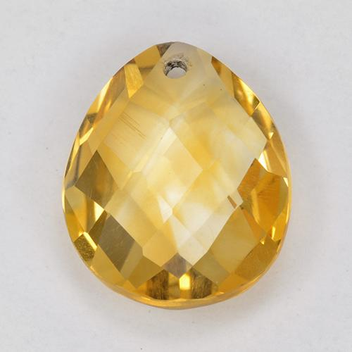 Medium Golden Цитрин Камень - 3.6ct Pear Checkerboard with Hole (ID: 514329)