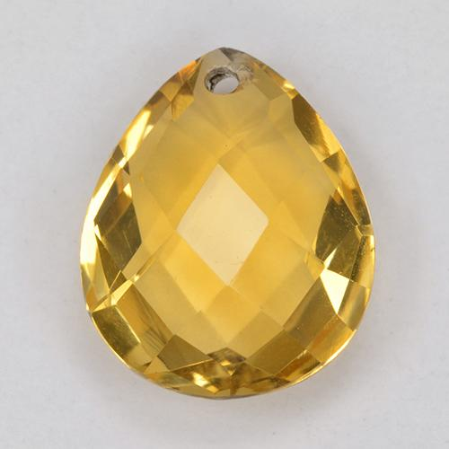 Arancio dorato Citrino Gem - 3.7ct Pear Checkerboard with Hole (ID: 514330)