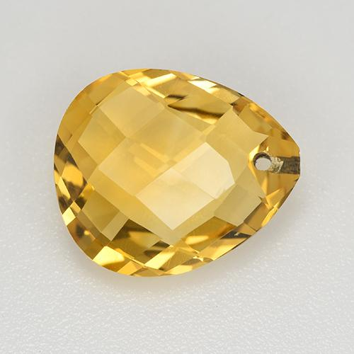 Yellow Golden Citrine Gem - 3.7ct Pear Checkerboard with Hole (ID: 514434)