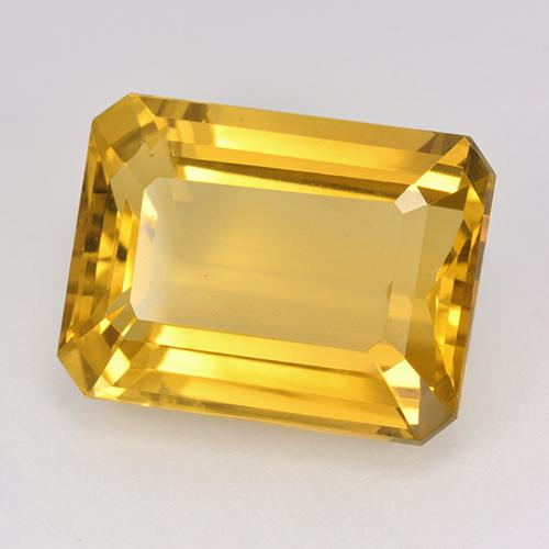 Yellow Golden Citrine Gem - 12.1ct Octagon Step Cut (ID: 514971)