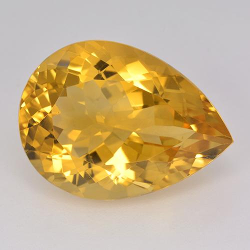 15.37 ct Corte en forma de pera Deep Golden Orange Citrina Piedra Preciosa 20.11 mm x 14.8 mm (ID del producto: 514972)