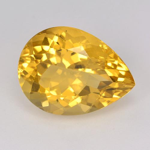Yellow Golden Citrine Gem - 8.3ct Pear Facet (ID: 514974)