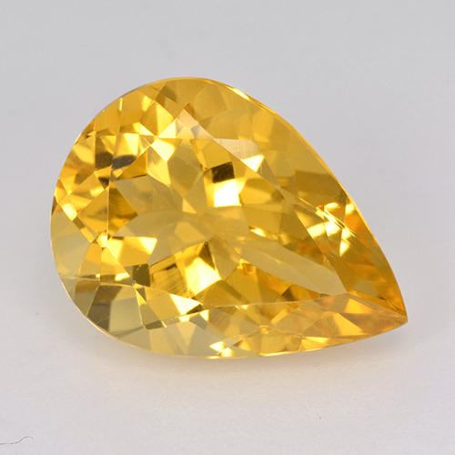 Yellow Golden Citrine Gem - 7ct Pear Facet (ID: 514978)