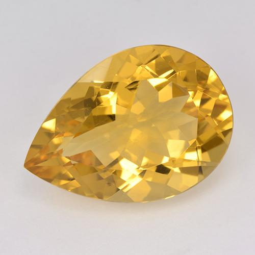 9.6ct Corte en forma de pera Deep Golden Orange Citrina Gema (ID: 514980)