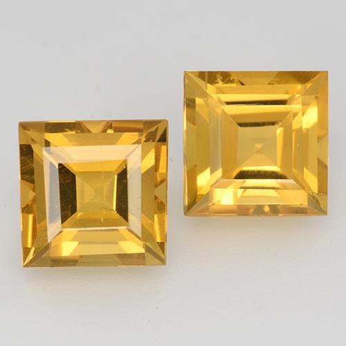Deep Golden Orange Citrine Gem - 1.7ct Square Step-Cut (ID: 515020)