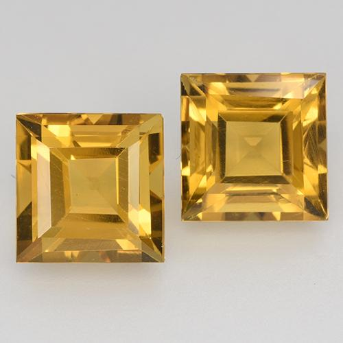 Yellow Golden Citrine Gem - 1.7ct Square Step-Cut (ID: 515024)