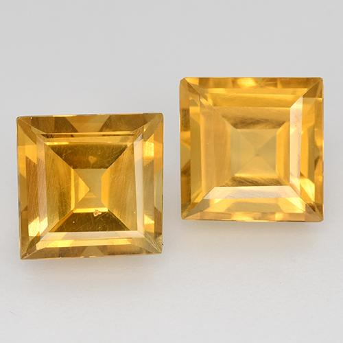 1.5ct Carré taillée en degrés Orange-Gold Citrine gemme (ID: 515025)