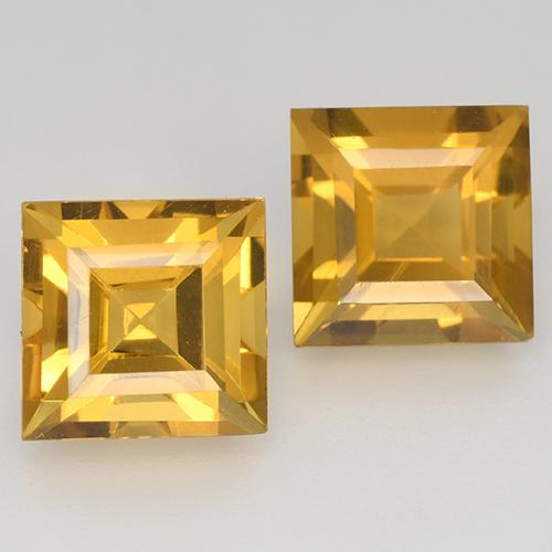 1.8ct Carré taillée en degrés Orange-Gold Citrine gemme (ID: 515026)