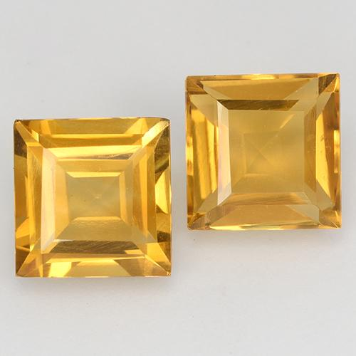 Deep Golden Orange Citrine Gem - 1.6ct Square Step-Cut (ID: 515027)