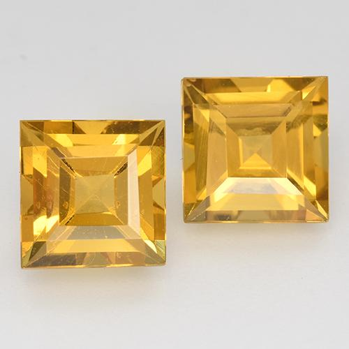 Yellow Golden Citrine Gem - 1.7ct Square Step-Cut (ID: 515030)