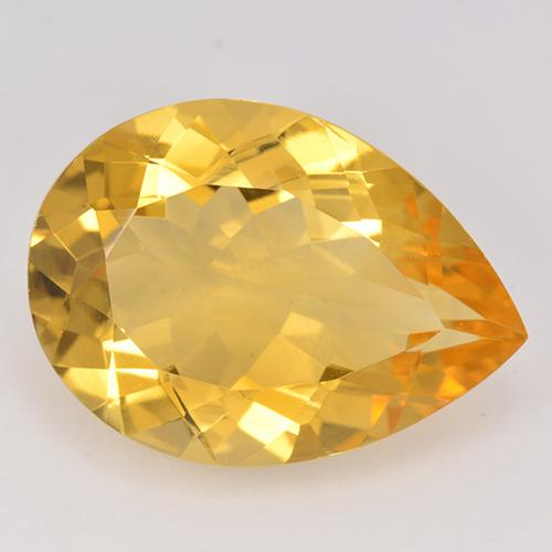 Yellow Golden Citrine Gem - 9.3ct Pear Facet (ID: 515414)