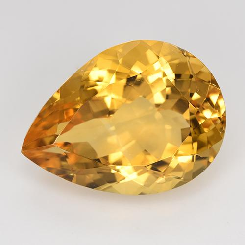 Yellow Golden Citrine Gem - 14.5ct Pear Facet (ID: 515865)