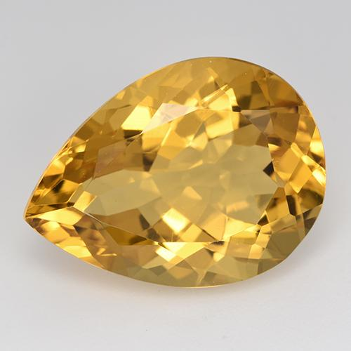 Yellow Golden Citrine Gem - 14.4ct Pear Facet (ID: 515870)