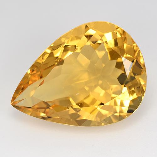 Yellow Golden Citrine Gem - 14.3ct Pear Facet (ID: 515871)