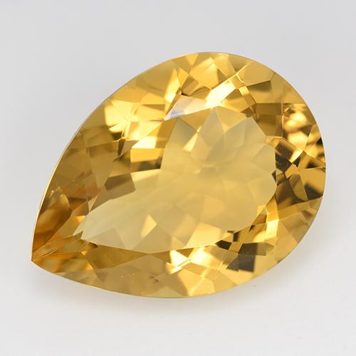 Yellow Golden Citrine Gem - 13.8ct Pear Facet (ID: 515873)