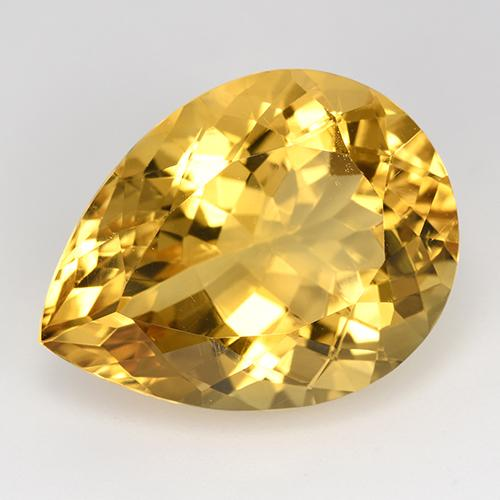 Yellow Golden Citrine Gem - 15.6ct Pear Facet (ID: 515874)