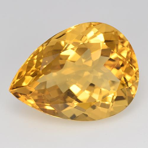 Yellow Golden Citrine Gem - 15.9ct Pear Facet (ID: 515876)