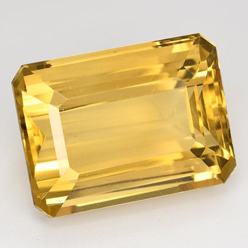 24.22 ct Octagon Step Cut Yellow Golden Citrine Gemstone 20.19 mm x 15 mm (Product ID: 516627)