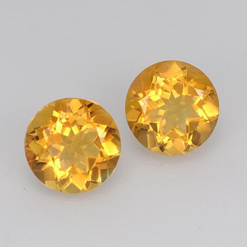 Yellow Golden Citrine Gem - 0.4ct Round Facet (ID: 517687)