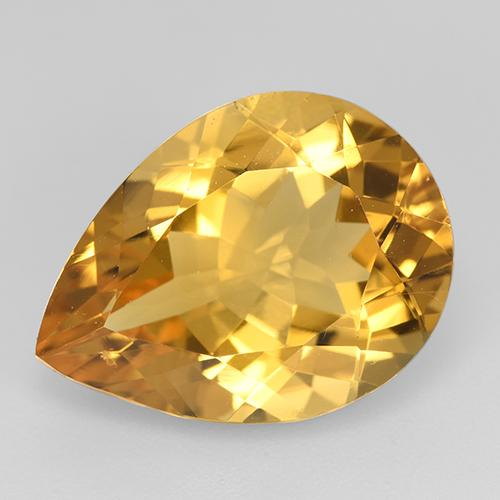 Orange-Gold Citrina Gema - 7.9ct Corte en forma de pera (ID: 518829)