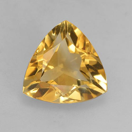 Deep Golden Orange Citrine Gem - 2.5ct Trillion Facet (ID: 531880)
