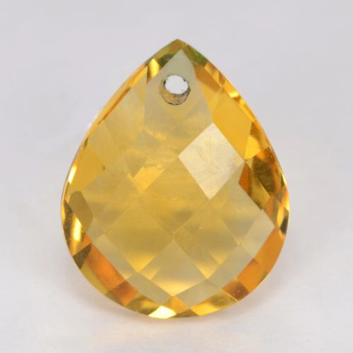 Medium Golden Citrine Gem - 3.6ct Pear Checkerboard with Hole (ID: 539840)
