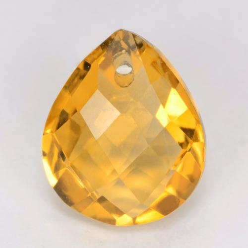 Medium-Light Orange-Gold Citrina Gema - 3.8ct Pera checkerboard con orificio (ID: 539844)