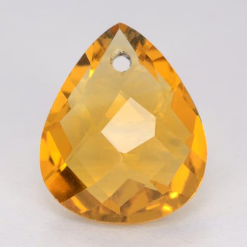 Dark Orange-Gold Citrine Gem - 3.3ct Pear Checkerboard with Hole (ID: 539848)